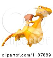 Clipart Of A 3d Happy Yellow Dragon Flying Royalty Free CGI Illustration