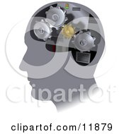 Turning Cogs Inside A Human Head Clipart Illustration