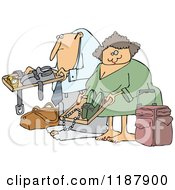 Cartoon Of A Traveling Couple Going Through Airport Security TSA Royalty Free Vector Clipart