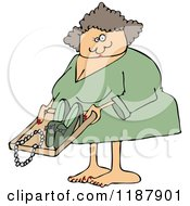 Cartoon Of A White Woman Going Through Airport TSA Security Royalty Free Vector Clipart