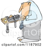 Cartoon Of A Man Going Through Airport Security TSA Royalty Free Vector Clipart