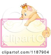 Cartoon Of A Cute Beige Princess Kitten Hanging Over A Sign Royalty Free Vector Clipart