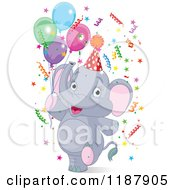 Cartoon Of A Cute Happy Party Elephant Walking Upright With Balloons And Confetti Royalty Free Vector Clipart