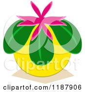 Cartoon Of A Loquat Japanese Altar Fruit With A Pink Flower Royalty Free Vector Clipart by bpearth