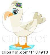 Cartoon Of A Seagull Wearing A Flower Royalty Free Vector Clipart