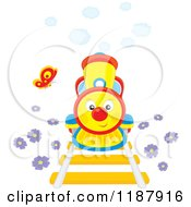 Cartoon Of A Butterfly And Cute Train With Smoke And Flowers Royalty Free Vector Clipart