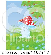 Cartoon Of A Happy Mushroom Character And Foliage Royalty Free Clipart