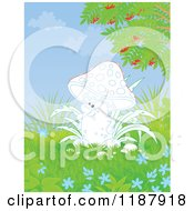 Cartoon Of A Mushroom Character And Foliage Royalty Free Clipart