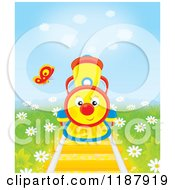 Cartoon Of A Butterfly Over A Cute Train On Tracks Surrounded By Daisies Royalty Free Clipart