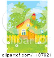 Cartoon Of A Butterfly Near A Cabin Or Church With Spring Foliage Royalty Free Clipart
