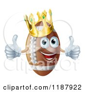 Cartoon Of A Happy Crowned Football Mascot Holding Two Thumbs Up Royalty Free Vector Clipart