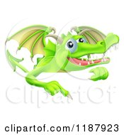 Cartoon Of A Happy Green Dragon Pointing Down At A Sign Royalty Free Vector Clipart