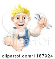 Poster, Art Print Of Happy Blond Worker Man Holding A Wrench And A Thumb Up