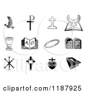 Clipart Of Black And White Christian Icons 2 Royalty Free Vector Illustration by AtStockIllustration