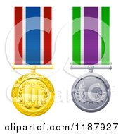 Gold And Silver Star And Wreath Medals On Ribbons