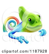 Cartoon Of A Happy Rainbow Chameleon Lizard Pointing Down At A Sign Royalty Free Vector Clipart