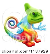 Cartoon Of A Happy Rainbow Chameleon Lizard Presenting Royalty Free Vector Clipart