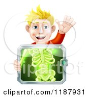 Cartoon Of A Happy Blond Man Holding An Xray Screen Over His Torso And Waving Royalty Free Vector Clipart