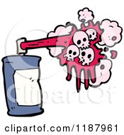 Cartoon Of A Spraypaint Can And Skull Royalty Free Vector Illustration