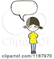 Cartoon Of A Little Girl Speaking Royalty Free Vector Illustration