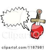Cartoon Of A Dagger In A Skull Speaking Royalty Free Vector Illustration by lineartestpilot