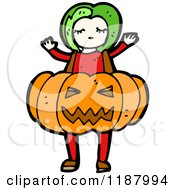 Cartoon Of A Child In A Pumpkin Costume Royalty Free Vector Illustration by lineartestpilot