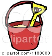 Cartoon Of A Sand Pail And Shovel Royalty Free Vector Illustration by lineartestpilot