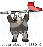 Cartoon Of A Man Waving A Flag Royalty Free Vector Illustration by lineartestpilot