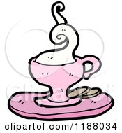 Cartoon Of A Pink Cup Of Hot Tea Royalty Free Vector Illustration
