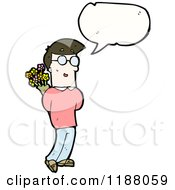 Cartoon Of A Boy Holding Flowers Speaking Royalty Free Vector Illustration
