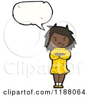 Cartoon Of An Angry Black Girl Speaking Royalty Free Vector Illustration