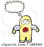 Cartoon Of A Person In Radiation Suit Speaking Royalty Free Vector Illustration by lineartestpilot