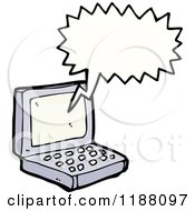 Cartoon Of A Computer Speaking Royalty Free Vector Illustration by lineartestpilot