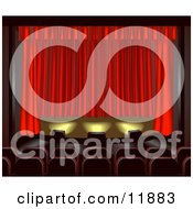 Empty Seats Facing A Red Curtain In A Theater Clipart Illustration by AtStockIllustration