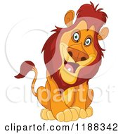 Cartoon Of A Happy Sitting Male Lion Cocking His Head Royalty Free Vector Clipart