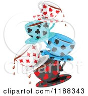 Cartoon Of Stacked Dripping Tea Cups Patterned In Playing Card Suit Shapes Royalty Free Vector Clipart