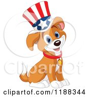 Cartoon Of A Cute Patriotic Puppy Wearing An American Top Hat Royalty Free Vector Clipart