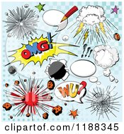Cartoon Of Explosions And Comic Design Elements On Blue Halftone Royalty Free Vector Clipart