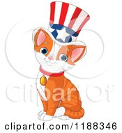 Cute Patriotic Ginger Cat Wearing An American Top Hat