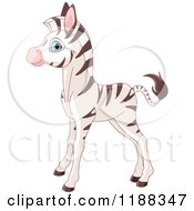 Cartoon Of A Cute Baby Zebra Standing In Profile Royalty Free Vector Clipart by Pushkin