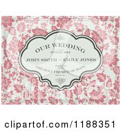 Vintage Pink And Beige Floral Wedding Invite With Sample Text And Swirls