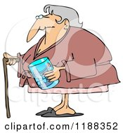 Senior Woman With A Cane And Her Teeth In A Glass