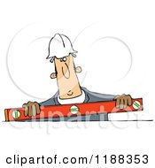 Cartoon Of A Construction Worker Holding A Box Beam Level Royalty Free Vector Clipart