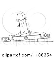 Poster, Art Print Of Outlined Construction Worker Holding A Box Beam Level