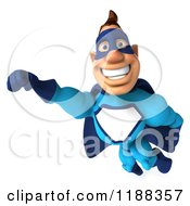 Clipart Of A 3d Flying Super Hero In A Blue Costume 3 Royalty Free CGI Illustration
