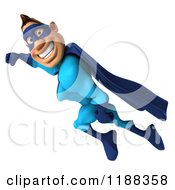 Clipart Of A 3d Flying Super Hero In A Blue Costume 2 Royalty Free CGI Illustration