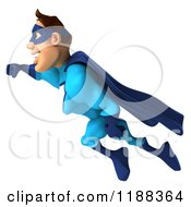Clipart Of A 3d Flying Super Hero In A Blue Costume Royalty Free CGI Illustration