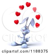 Clipart Of A 3d Blue Bunny Juggling Hearts 2 Royalty Free CGI Illustration