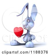 Clipart Of A 3d Blue Bunny Holding Out A Heart 2 Royalty Free CGI Illustration