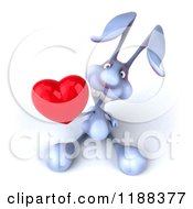 Clipart Of A 3d Blue Bunny Holding Out A Heart Royalty Free CGI Illustration